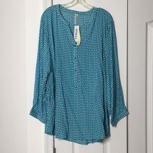 Grand & Greene 2x teal white 💯rayon blouse NWT